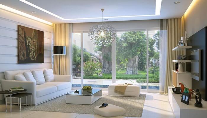 Cửa kính cường lực khung nhôm trắng cao cấp cho phòng khách