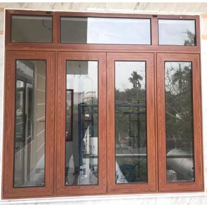 cửa sổ mở quay, mở hất nhôm PMA màu vân gỗ