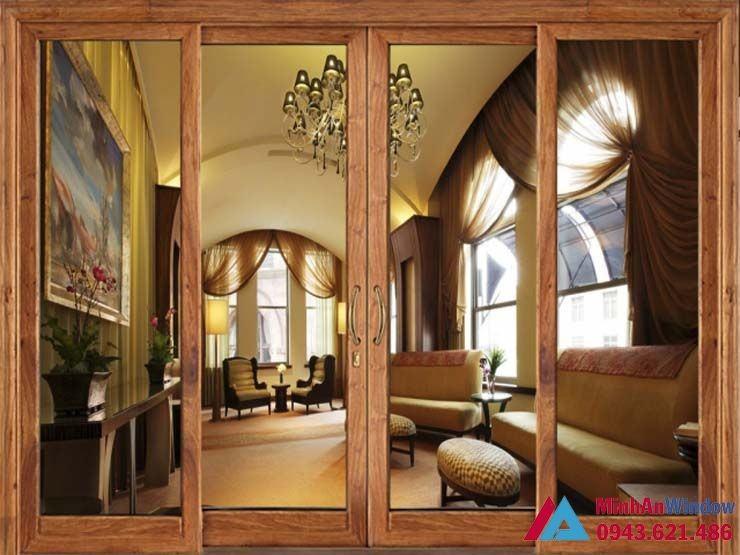 cửa kính trượt 4 cánh vân gỗ