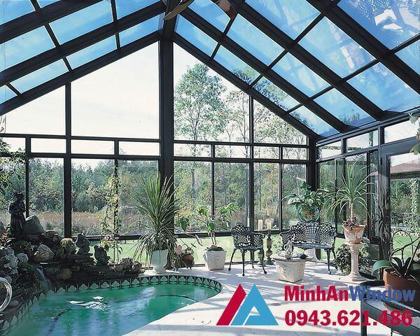Mái kính khung inox siêu đẹp cho phòng tiếp khách