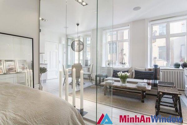 Cửa vách kính phòng khách đẹp mê hồn