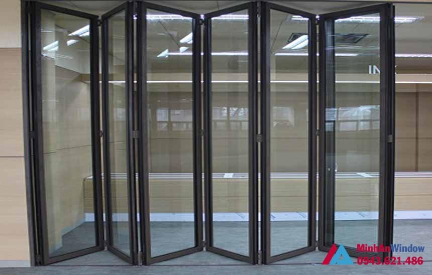 Cửa nhôm trượt gấp 6 cánh cho các văn phòng lớn - Minh An Window đã thi công