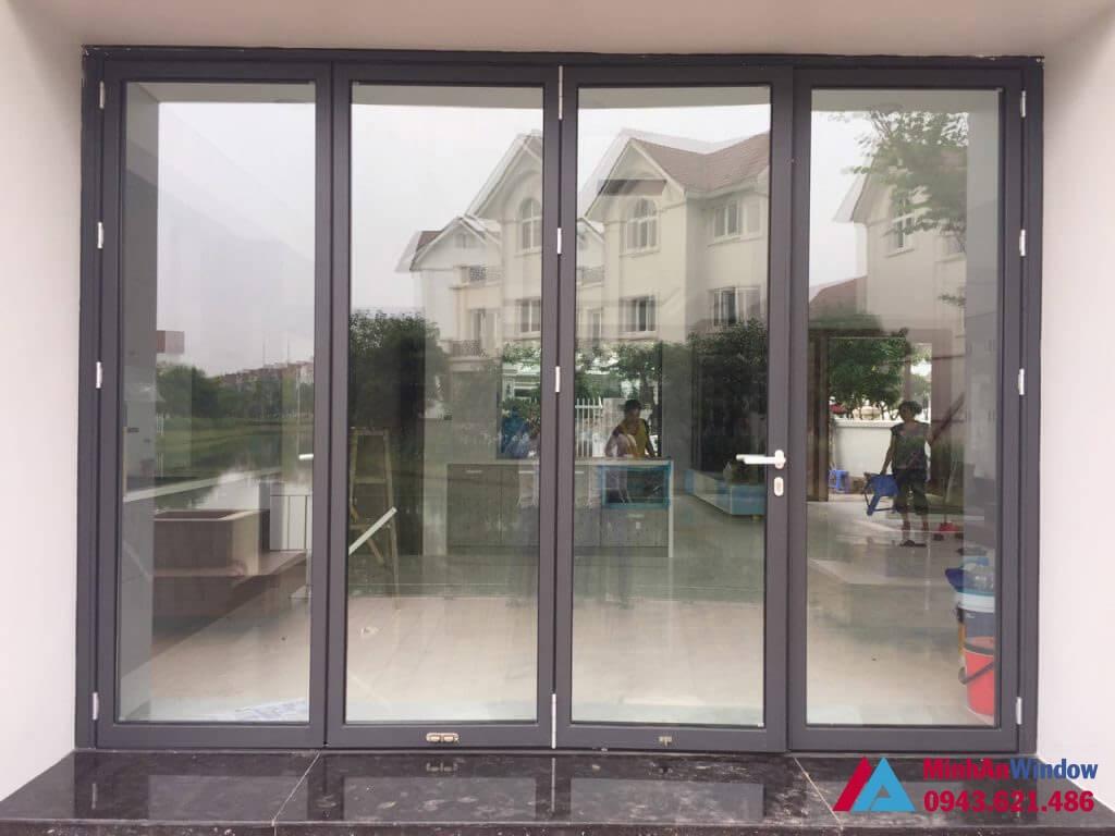 Cửa nhôm 4 cánh màu ghi xám - Minh An Window đã thi công