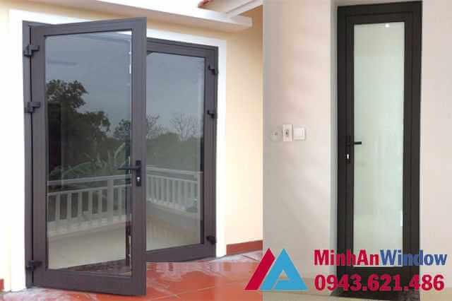 Mẫu cửa đi 2 cánh và 1 cánh Minh An Window lắp đặt tại Hà Giang