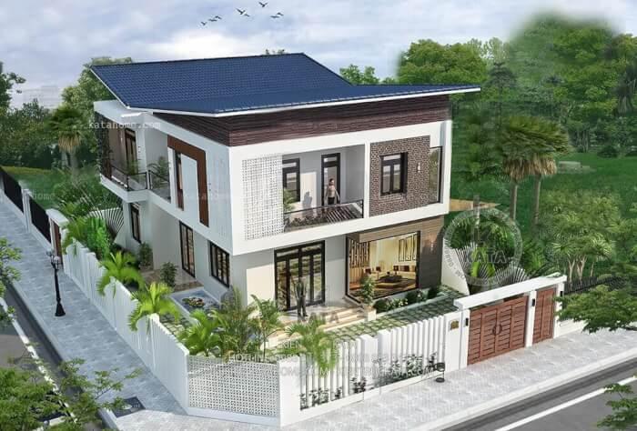 Phối cảnh thiết kế kiến trúc mẫu biệt thự 2 tầng 2