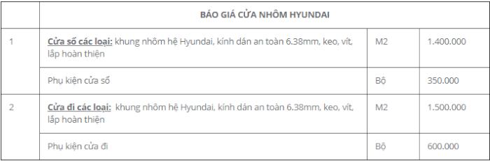 Bảng báo giá cửa nhôm hyundai 2018