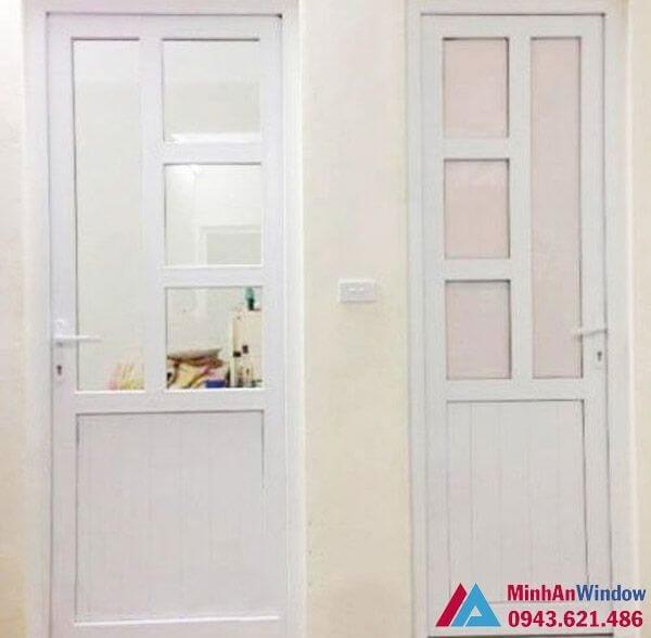 Mẫu cửa nhôm việt pháp 1 cánh màu trắng