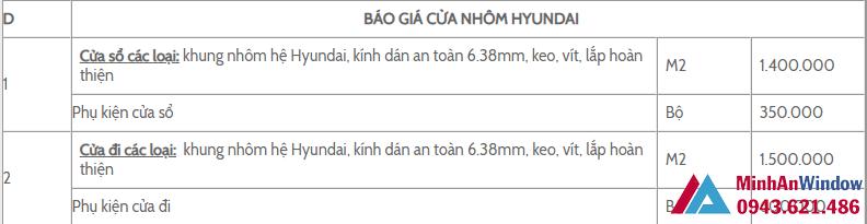 Bao Gia Cua Nhom Kinh Hyundai