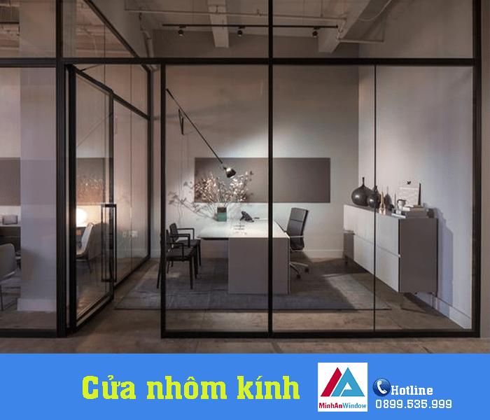 Mẫu cửa nhôm kính kết hợp với vách kính Minh An Window lắp đặt tại Quảng Ninh