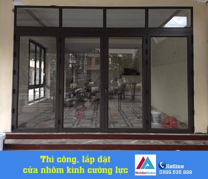 Mẫu cửa nhôm kính 4 cánh Minh An Window lắp đặt tại Quảng Ninh