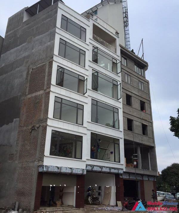 Thi công cửa nhôm xingfa cho tòa nhà 8 tầng tại Thái Nguyên