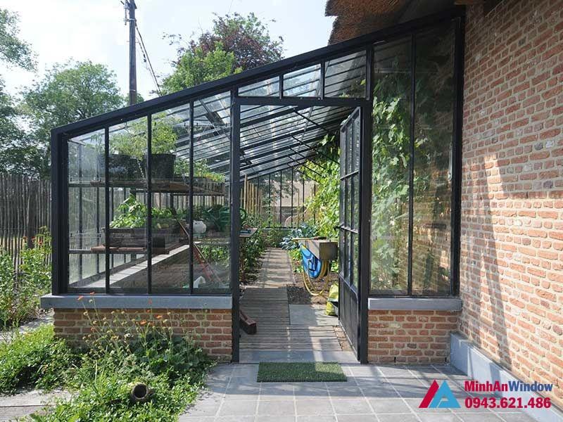 Mái kính cho vườn hoa, tại các homstay - Minh An Window đã thi công