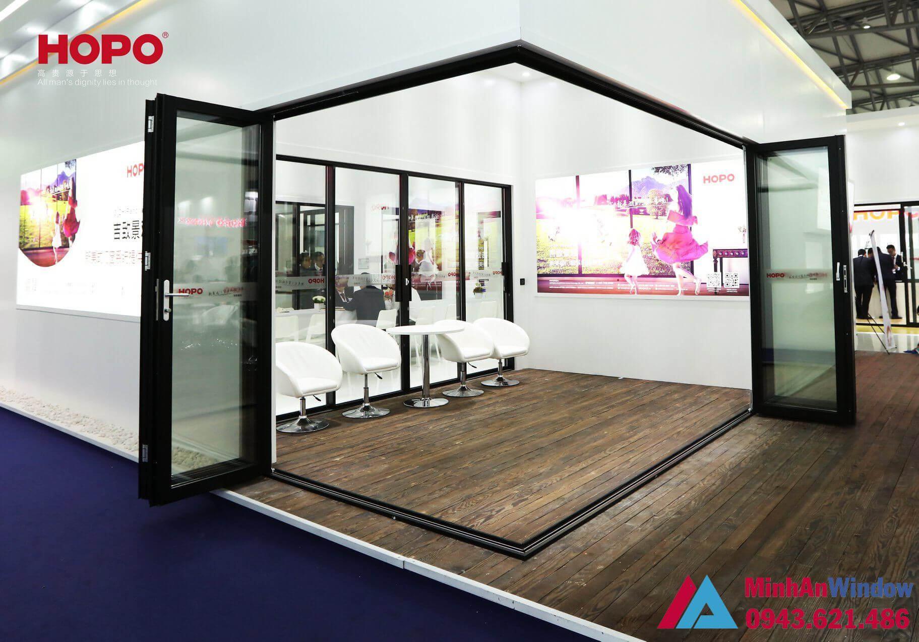 cửa xếp gấp trượt góc vuông tạo không gian phòng thoáng nâng tầm phong cách sống