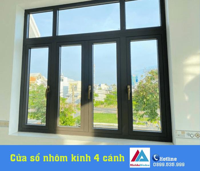Mẫu cửa sổ nhôm kính 4 cánh bền đẹp Minh An Window lắp đặt tại Yên Bái