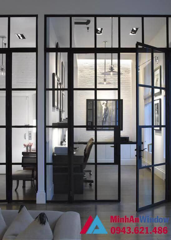 Cửa kính khung sắt đen sơn tĩnh điện