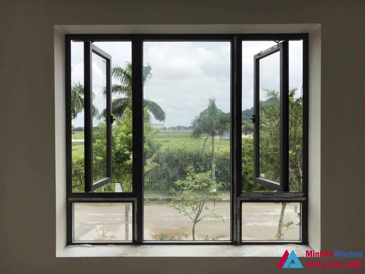 Cửa sổ nhôm kính 2 cánh mở quay cho các biệt thự