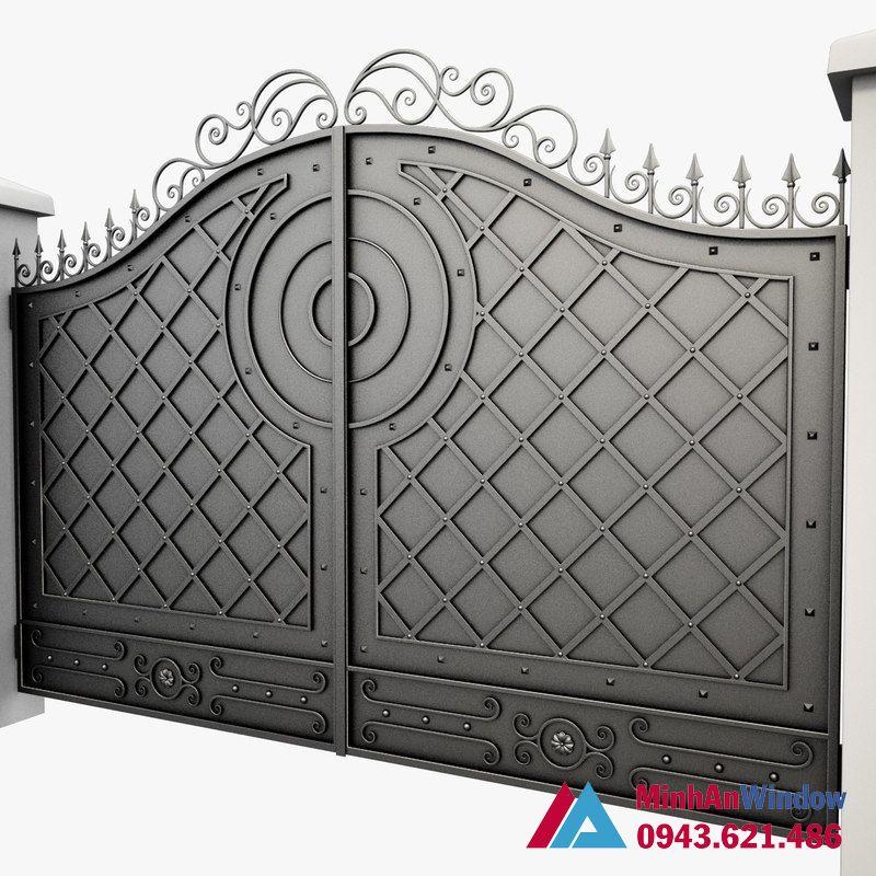 Cửa cổng khung sắt 2 cánh bịt tôn cao cấp chất lượng
