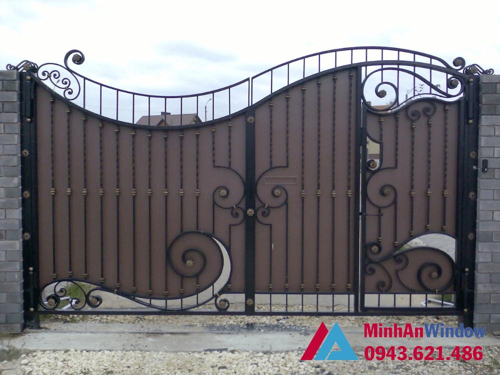 Cửa cổng trượt khung sắt bịt tôn cao cấp chất lượng