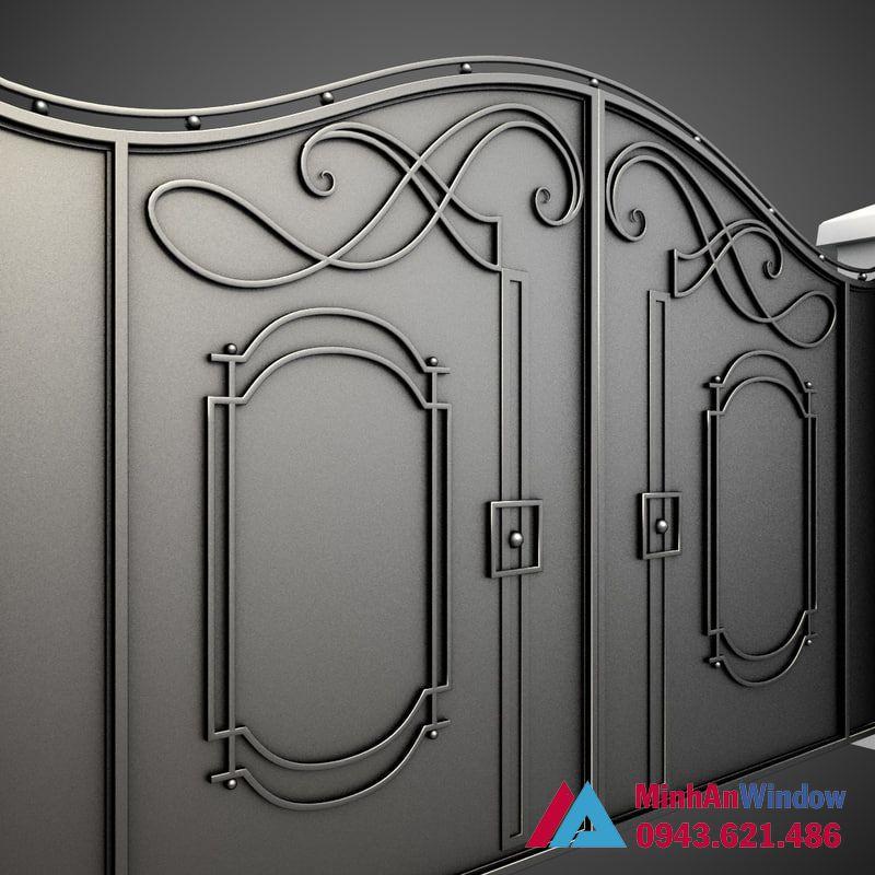 Cửa cổng 2 cánh khung sắt bịt tôn cao cấp chất lượng