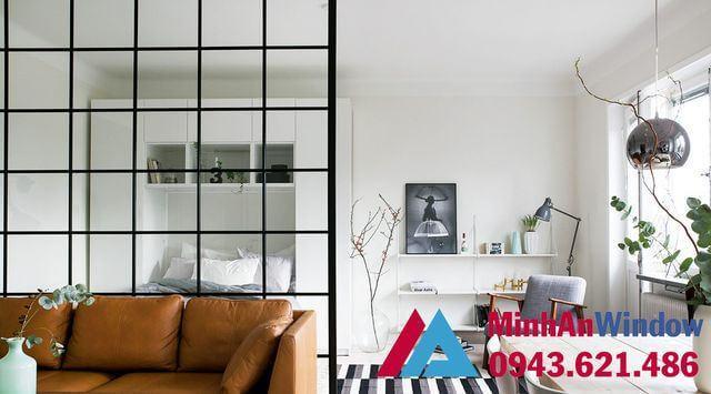 Vách kính cường lực trang trí phòng khách đẹp