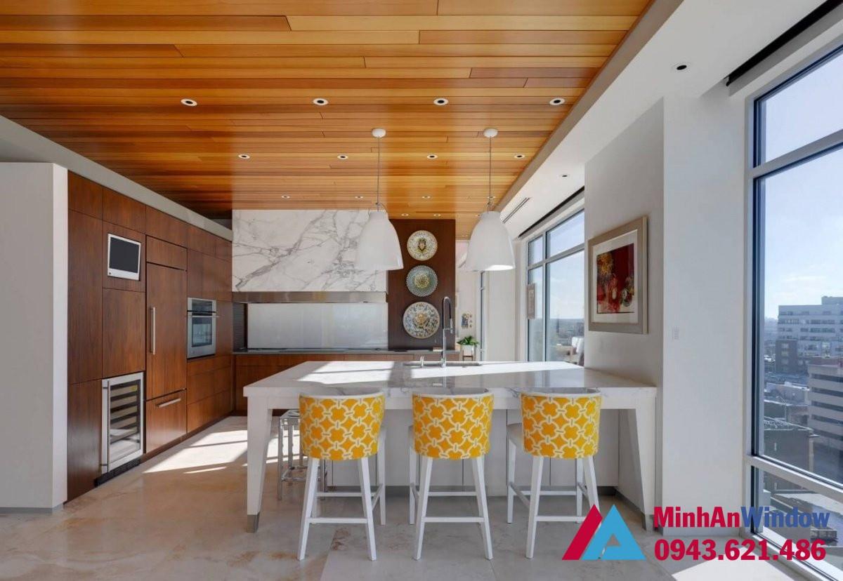 Tấm Alu vân gỗ cho trần nhà và tủ bếp sang trọng