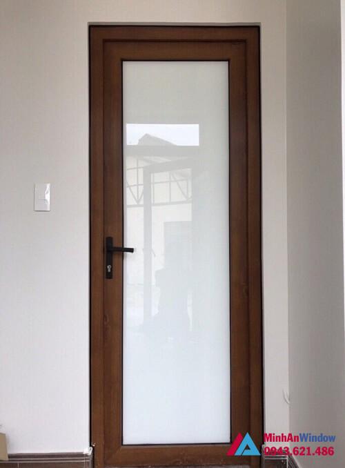 Cửa kính mờ 1 cánh phòng ngủ cao cấp vân gỗ