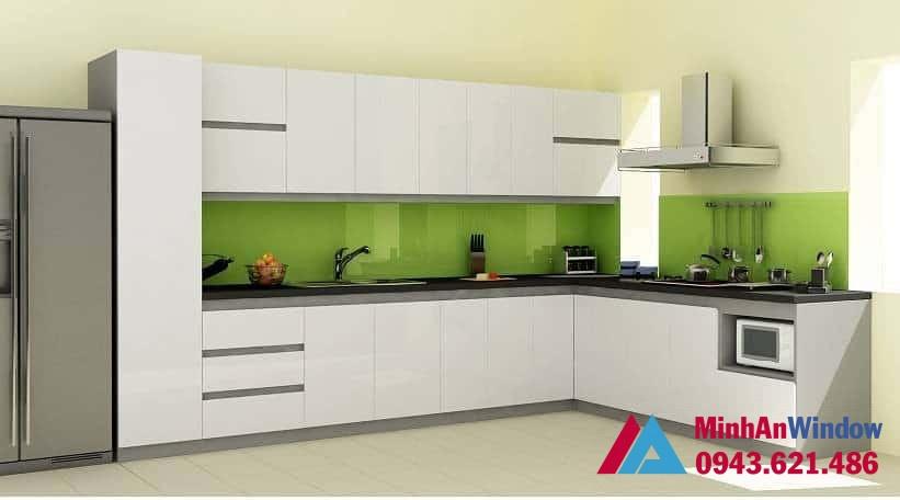 Mẫu tủ bếp nhôm kính - Nhôm vân trắng rất đẹp