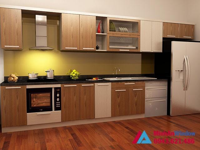 Mẫu tủ bếp nhôm kính kết hợp màu vân gỗ nhẹ nhàng