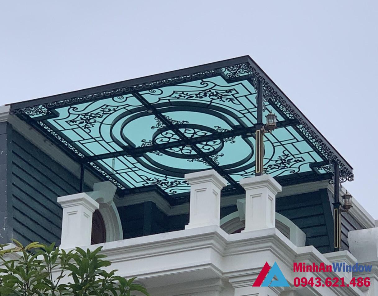 Mái kính khung sắt tầng thượng đẹp long lanh