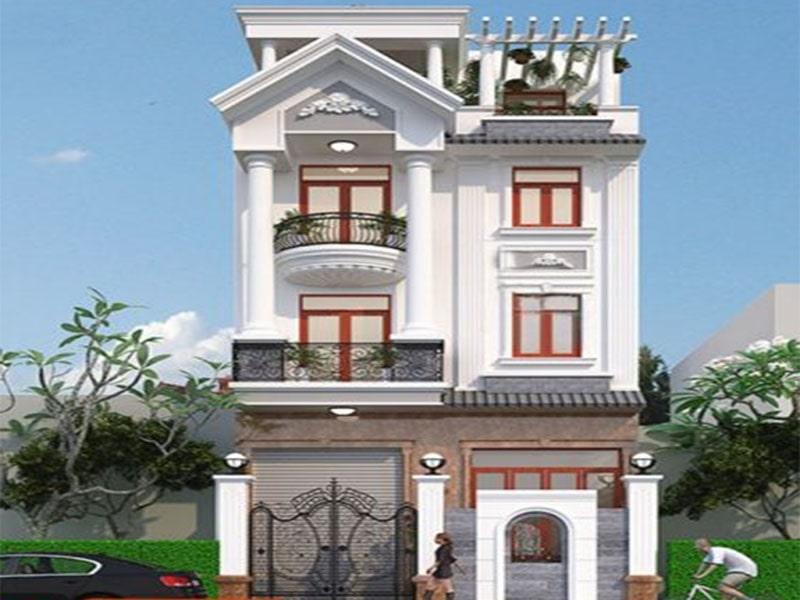 Mẫu nhà 2 tầng 4 phòng ngủ kiến trúc mái thái chữ L