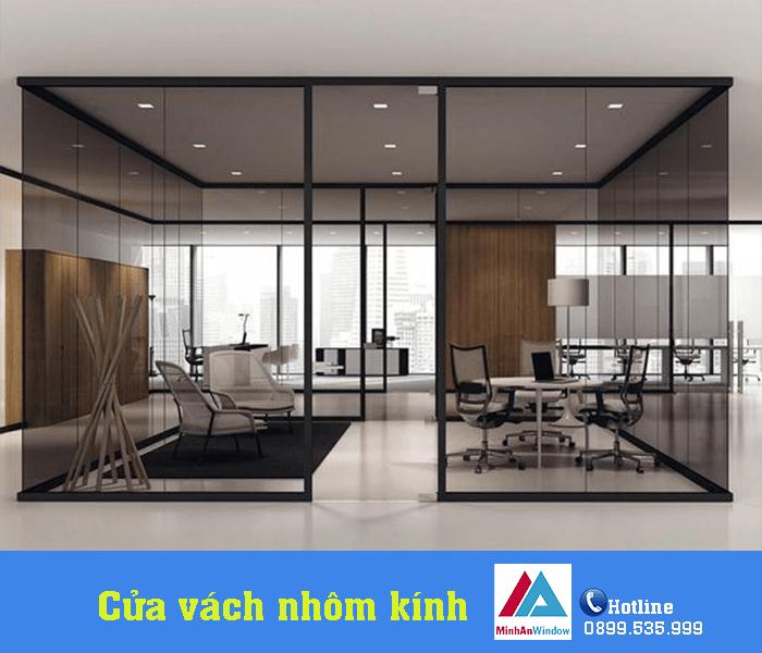 Sản phẩm cửa vách nhôm kính mở trượt lắp tại văn phòng - Minh An Window đã thi công