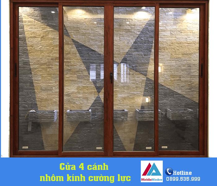 Cửa nhôm kính mở trượt quay màu vân gỗ bền đẹp - Minh An Window đã thi công