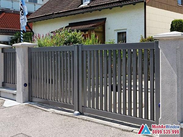 Cửa cổng 2 cánh lùa cao cấp chất lượng - Minh An Window đã thi công
