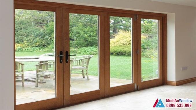 Cửa kính cường lực khung gỗ cao cấp chất lượng - Minh An Window đã thi công