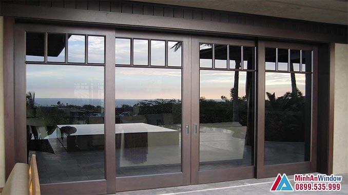 Cửa kính cường lực khung nhôm màu cafe - Minh An Window đã thi công