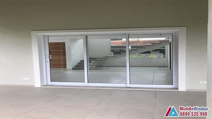 Cửa kính cường lực khung nhôm 3 cánh cao cấp chất lượng - Minh An Window đã thi công
