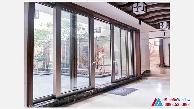 Cửa nhôm cao cấp 2 cánh trượt đẹp cho các Homestay - Minh An Window đã thi công