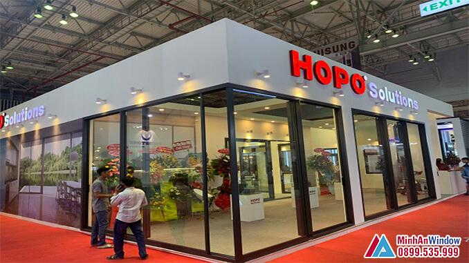 Cửa nhôm cao cấp Hopo trượt góc nhập khẩu - Minh An Window cung cấp và lắp đặt