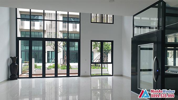 Cửa nhôm Hyundai 5 cánh cao cấp cho các biệt thự - Minh An Window đã thi công