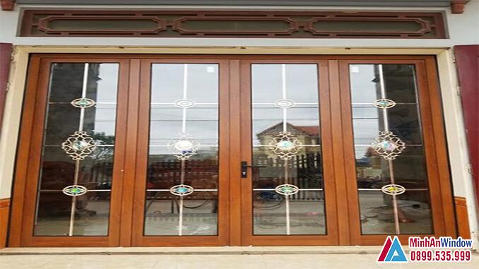 Cửa nhôm kính khu công nghiệp màu gỗ cao cấp - Minh An Window đã thi công