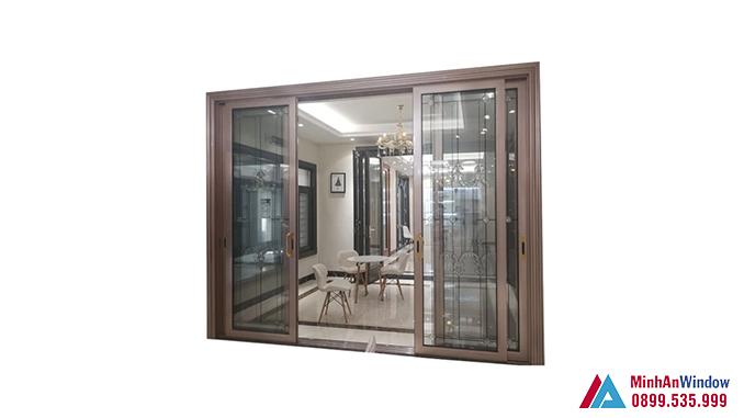 Cửa Nhôm Kính Sơn Tĩnh Điện Màu Đồng Cao Cấp - Minh An Window Đã Thi Công