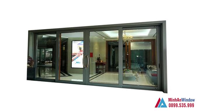 Cửa Nhôm Tĩnh Điện 4 Cánh Màu Đen Nhám Phổ Biến - Minh An Window Đã Thi Công