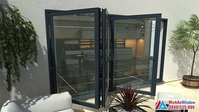 Cửa Nhôm Kính Sơn Tĩnh Điện Trượt Gấp Cao Cấp - Minh An Window Đã Thi Công