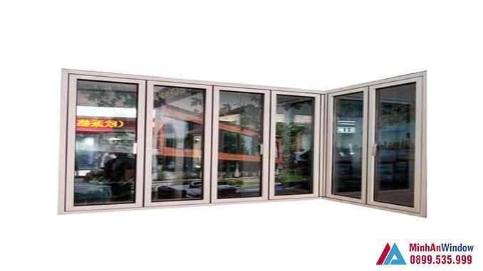 Cửa Nhôm Kính Sơn Tĩnh Điện 6 Cánh Màu Vàng Đồng - Minh An Window Đã Thi Công
