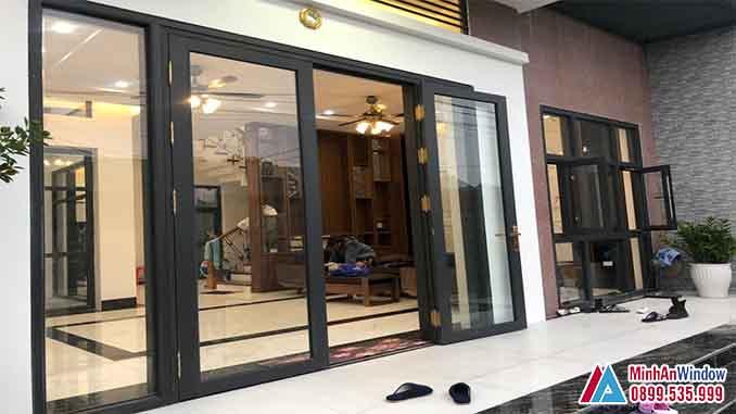 Cửa Nhôm Kính Tại Đan Phượng 4 Cánh Cao Cấp - Minh An Window Đã Thi Công
