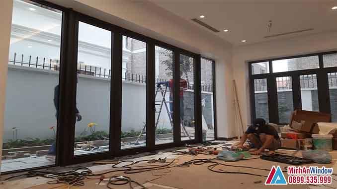 Cửa Nhôm Kính Tại Đan Phượng Mẫu 6 Cánh Cao Cấp - Minh An Window Đã Thi Công