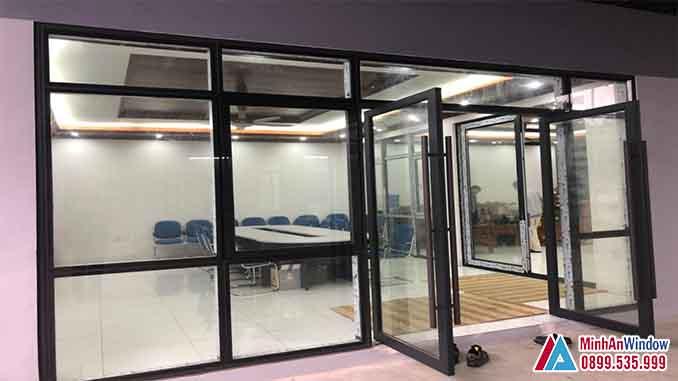 Cửa Nhôm Kính Kết Hợp Với Vách Kính Cho Các Văn Phòng Tại Đan Phượng - Minh An Window Đã Thi Công