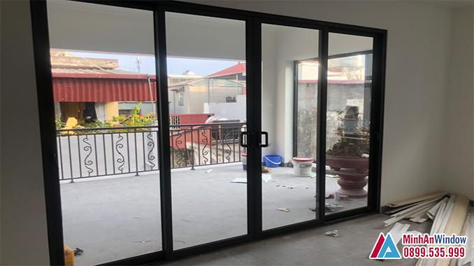 Mẫu cửa nhôm kính 4 cánh tại KCN Thường Tín - Hà Nội do Minh An Window lắp đặt