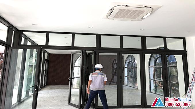 Cửa Nhôm Kính Xếp Gấp Tại Thái Bình Cao Cấp - Minh An Window Đã Thi Công