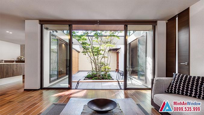 Cửa Nhôm Kính Xếp Trượt Góc 90º Cao Cấp - Minh An Window Đã Thi Công
